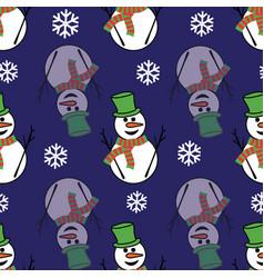 Cute snowmen and snowflakes on a dark blue vector