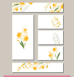 Daffodil set with visitcards and greeting vector