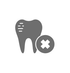 damaged tooth enamel dental broken grey icon vector image