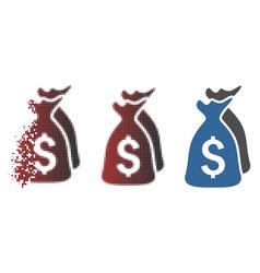 Dispersed pixel halftone money bags icon vector
