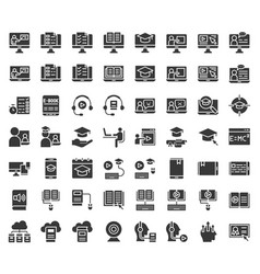E learning and educated online icon set solid vector