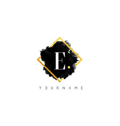 e letter logo design with black stroke and golden vector image