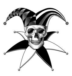 Engraved human skull full face in a joker hat vector
