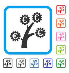 Euro technology tree framed icon vector
