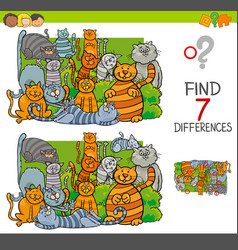 Find differences with cats animal characters vector