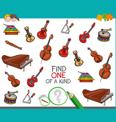 Find one of a kind game with musical instruments vector