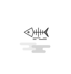 fish skull web icon flat line filled gray icon vector image