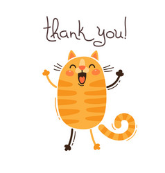 funny cat says thank you in vector image