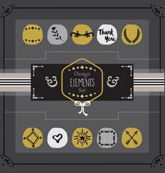 golden and gray emblems card design elements set vector image