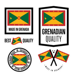 Grenada quality label set for goods vector