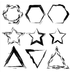 Grunge shapes Star triangle hexagon Set of vector