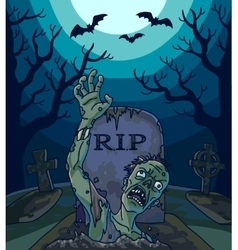 Halloween with spooky zombie vector image
