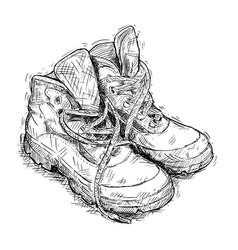 Hand drawing of pair of worn hiking boots vector