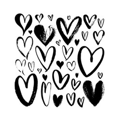 heart sketch collection hand drawn brush hearts vector image