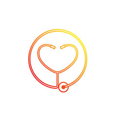 Heart stethoscope logotype linear medical vector