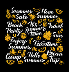 hello summer calligraphy design vector image