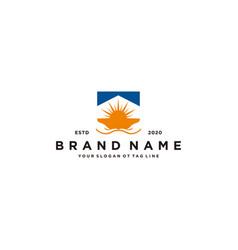 Home and sun hand logo design vector