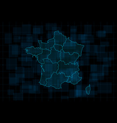 Hud map france with regions cyberpunk vector