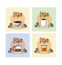 i love coffee concept collection vector image