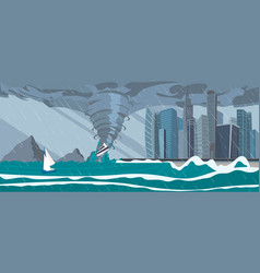 Incoming sea tornado hurricane on business city vector