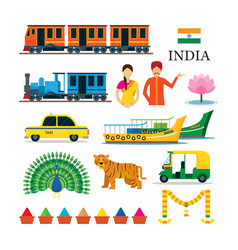 india transportation and animals objects icons set vector image