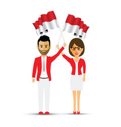Indonesia flag waving man and woman vector