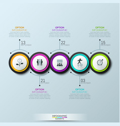 Infographic design layout 5 multicolored circular vector