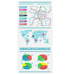Infographics elements with world map vector image