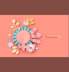 international women day pink papercut flower card vector image