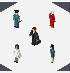 isometric people set of female investor doctor vector image