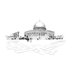 israel jerusalem temple mount dome of the rock vector image