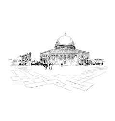 israel jerusalem temple mount dome rock vector image