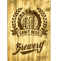 label with beer mug vector image