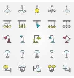 Lamp icons or signs vector image