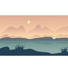 Landscape hill and river of silhouette vector