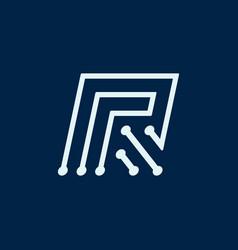 Letter r font maze italic geometric vector