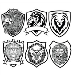 Lion head angry black white on shield ill vector