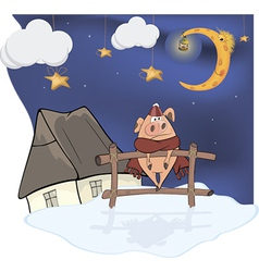 Little pig and Christmas night vector image