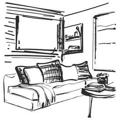 Living room graphic black white interior sketch vector