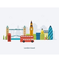 London United Kingdom Big Ben tower flat icons vector image