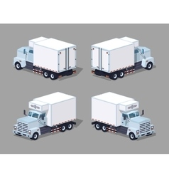 Low poly white truck refrigerator vector