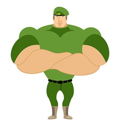 Marine in green beret Special forces of strong man vector image