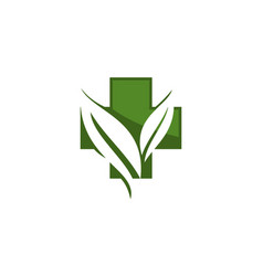Medial herbal logo design template vector