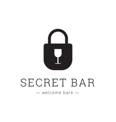 minimalistic secret bar logo with little vector image