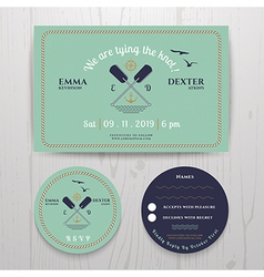 Nautical twin paddle wedding invitation and rsvp vector