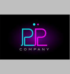 Neon lights alphabet pp p p letter logo icon vector