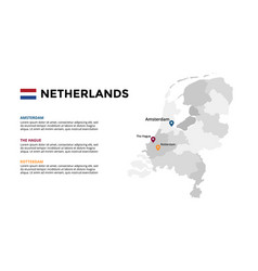 Netherlands map infographic template slide vector