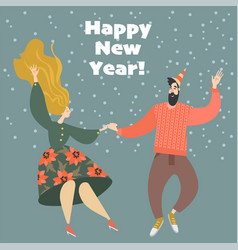 new year greeting card with funny dancing couple vector image