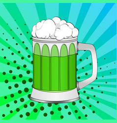 Pop art saint patricks day green beer in a glass vector