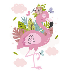 Poster with beautiful pink flamingo vector